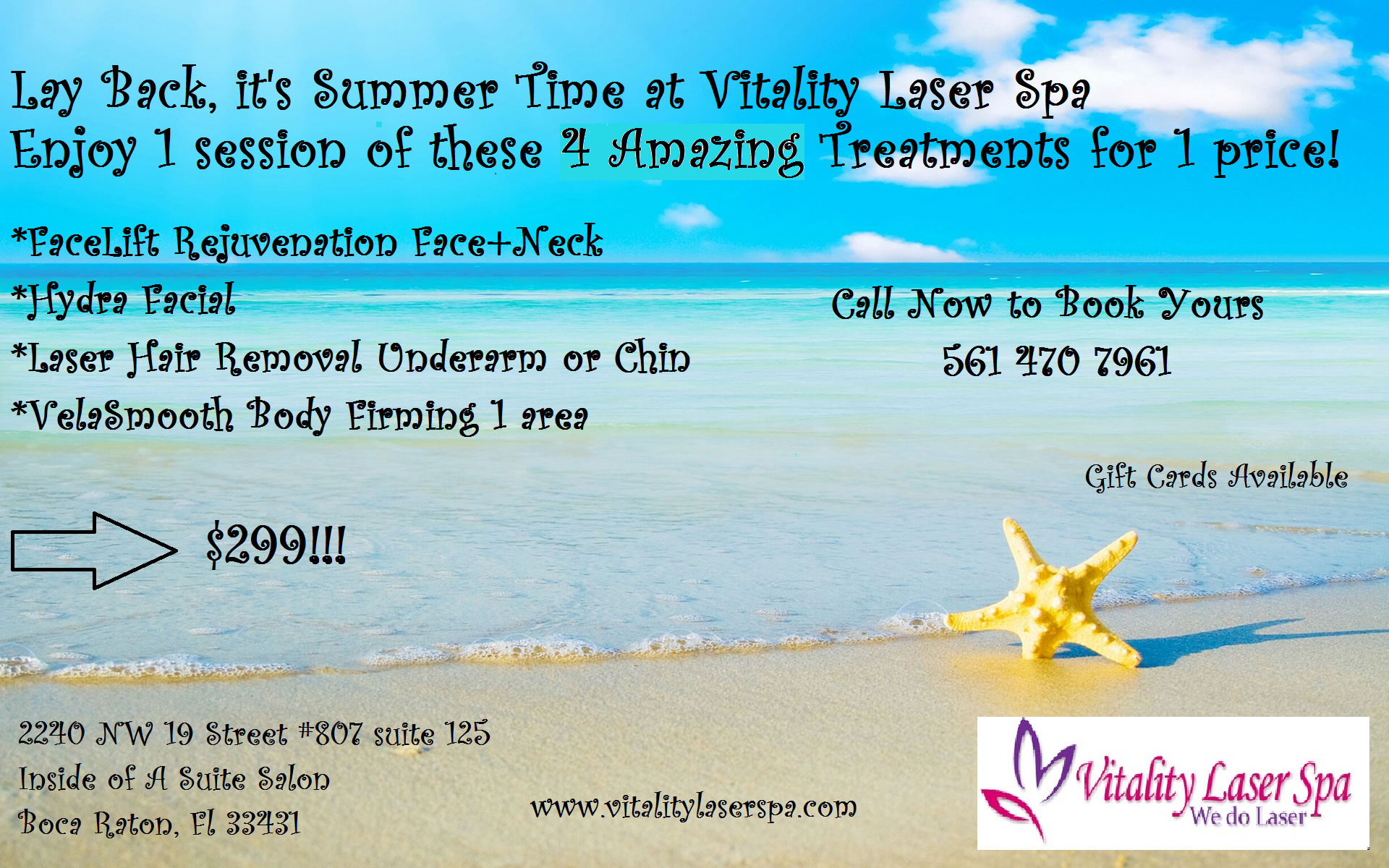 Vitality laser spa boca raton summer promotion laser hair removal skin treatment